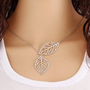 Silver Leaf Lariat Dainty Necklace